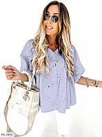 Красивая женская молодежная блузка на лето из натуральной прошвы р-ры 42-44,46-48 арт р6