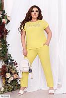 Стильний прогулянковий костюм жіночий на літо з футболкою великих розмірів 48-58 арт. 255