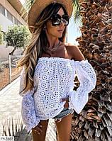 Стильная красивая женская блуза с открытыми плечами из легкой натуральной ткани прошва р-ры 42-44,46-48 арт р5