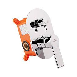 Змішувач прихованого монтажу для ванни Qtap Form 010-22 CRM для трьох споживачів