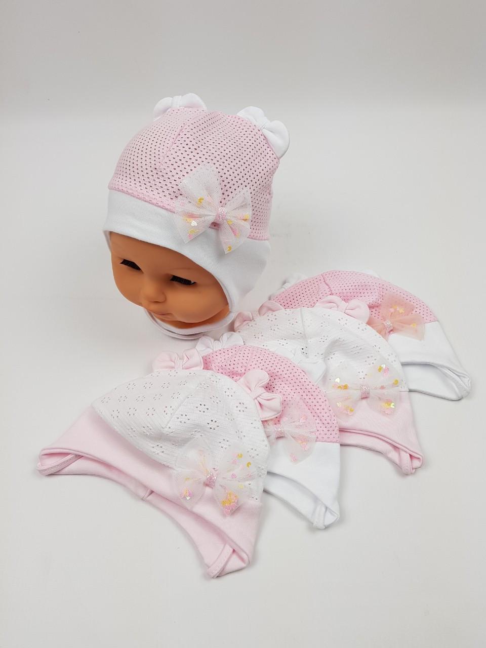 Дитячі польські літні шапки з сіткою оптом для дівчаток, р. 38-40 42-44 Ala Baby
