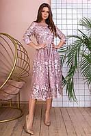 Шикарное красивое вечернее кружевное приталенное платье-миди р.42-46. Арт-4994/34, фото 1