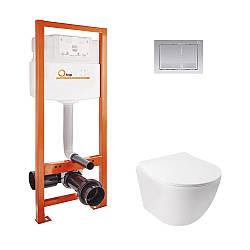 Набор инсталляционный для унитаза Qtap інсталяція Nest QTNESTM425M06CRM + унітаз з сидінням Jay QT07335176W