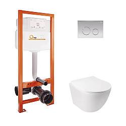 Набор инсталляционный для унитаза Qtap інсталяція Nest QTNESTM425M11CRM + унітаз з сидінням Jay QT07335176W