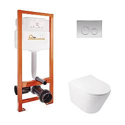Набор инсталляционный для унитаза Qtap інсталяція Nest QTNESTM425M11CRM + унітаз з сидінням Swan QT16335178W