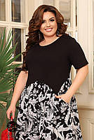 Чорне літнє плаття з короткими рукавами, трикотажні верх і штапельная спідниця з 48 по 66 розмір, фото 2
