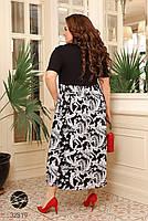 Чорне літнє плаття з короткими рукавами, трикотажні верх і штапельная спідниця з 48 по 66 розмір, фото 3