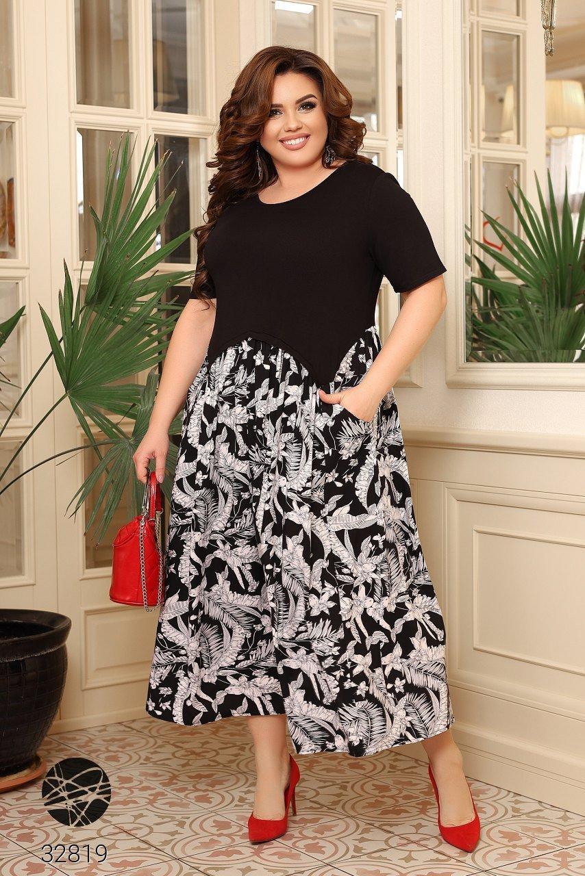 Чорне літнє плаття з короткими рукавами, трикотажні верх і штапельная спідниця з 48 по 66 розмір
