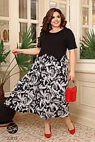 Чорне літнє плаття з короткими рукавами, трикотажні верх і штапельная спідниця з 48 по 66 розмір, фото 4