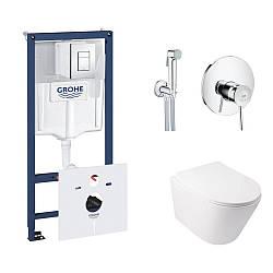Комплект інсталяція Grohe Rapid SL 38827000 + унітаз з сидінням Qtap Swan QT16335178W + набір для гігієнічного