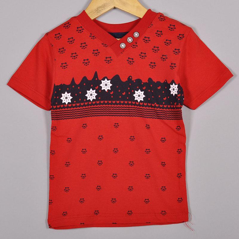 Дитяча трикотажна футболка, для хлопчиків 1-4 роки (4 од в уп), Червоний