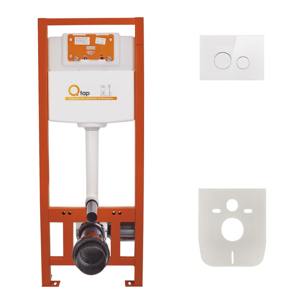 Набор инсталляция 4 в 1 Qtap Nest ST с круглой панелью смыва QT0133M425V1164GW