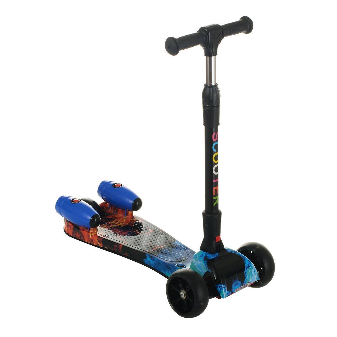 Детский трехколесный самокат со светящимися колесами, разноцветный