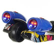 Детский трехколесный самокат со светящимися колесами, разноцветный, фото 3