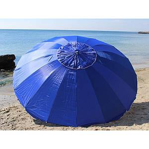 Зонт пляжний 3 метри і садовий антиветер з регулюванням нахилу на 16 спиць, синій