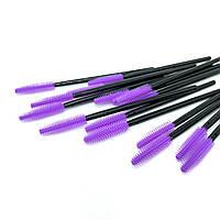 Одноразові щіточки для розчісування вій і брів силіконові чорні з фіолетовим ворсом 50 штук