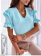 Блуза женская нарядная с красивыми рукавами из легкой тонкой ткани на лето р-ры 42-44,46-48 арт р3