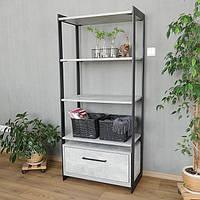Стеллаж этажерка в стиле лофт с выдвижным ящиком Metal & Wood H-700-4-1