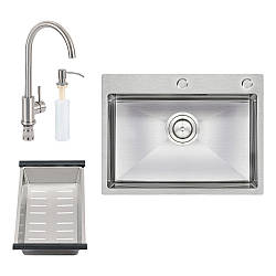 Набір 4 в 1 Qtap кухонна мийка D6045 Satin + змішувач + сушарка + дозатор для миючого засобу