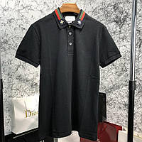 Поло Gucci Cotton with Web and Bee Black