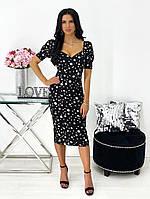 Женское нежное облегающее платье из штапеля длины миди (Норма), фото 3