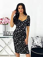 Женское нежное облегающее платье из штапеля длины миди (Норма), фото 7