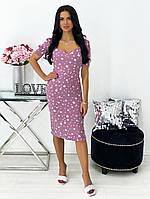 Женское нежное облегающее платье из штапеля длины миди (Норма), фото 8
