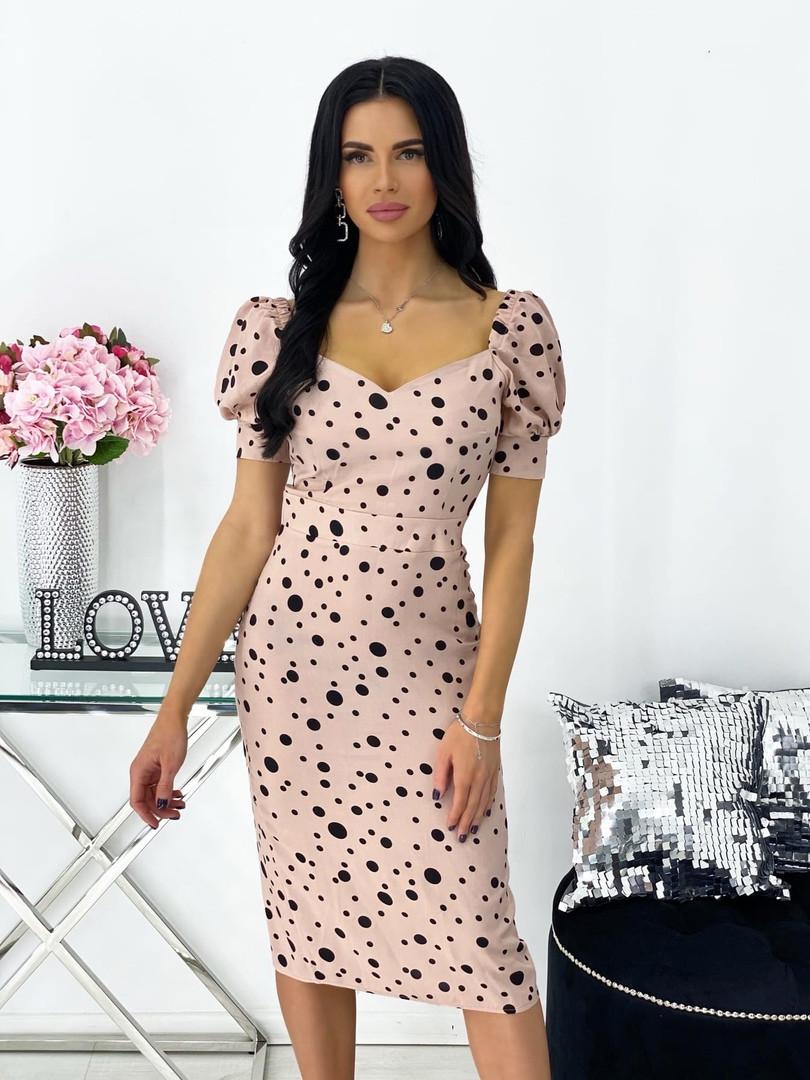 Женское нежное облегающее платье из штапеля длины миди (Норма)
