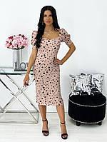 Женское нежное облегающее платье из штапеля длины миди (Норма), фото 9
