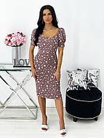 Женское нежное облегающее платье из штапеля длины миди (Норма), фото 10