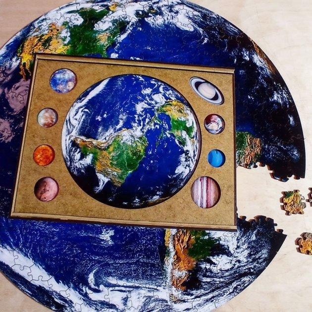 Деревянный фигурный пазл Планета Земля  А4(30х21см) 159 деталей