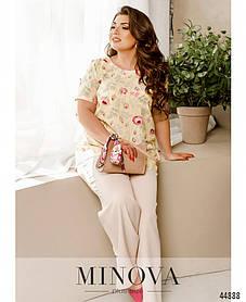 Асимметричная блузка  из софта кремового цвета с цветочками большой размер от 50 до 68