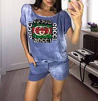 Модный молодежный летний женский костюм с шортами джинс стрейч с пайетками универсальный р-р 44-50