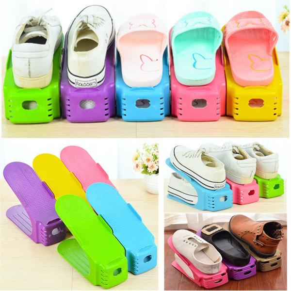 Подвійна стійка для взуття Supretto (набір 10 шт) Shoe Slotz Різнобарвний
