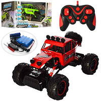 Детская радиоуправляемая машина с большими колесами Джип для мальчика 0132 Красный