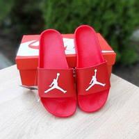 Мужские летние шлепки в стиле Jordan красные