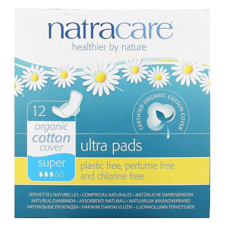 Гігієнічні прокладки Natracare Ultra Pads Super з органічної бавовни стандартні Натуркеа 12 шт