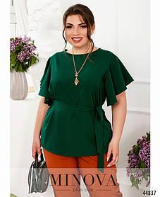 Актуальная блузка из мягкой ткани зеленого цвета, больших размеров от 50 до 68