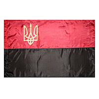 Флаг ОУН-УПА , прапор ОУН-УПА , с гербом , поліестер , 150×100 см.
