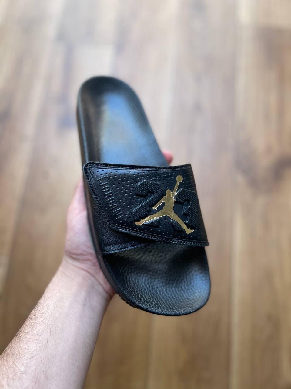 Мужские тапочки Jordan Black Gold