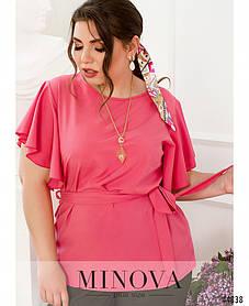 Яркая малиновая блузка с мягкими оборками на лето 2021, большой размер от 50 до 68