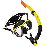 Набор для плавания маска с трубкой Zelart M208-SN120-SIL желтый-черный