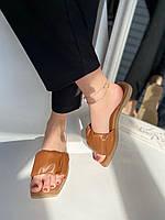 Шлепанцы женские кожаные карамельные на низком ходу, фото 1