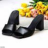 Лаконичные черные кожаные женские шлепки шлепанцы натуральная кожа на каблуке, фото 8