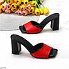 Лаконичные красные кожаные женские шлепки шлепанцы натуральная кожа на каблуке, фото 10