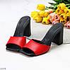 Лаконичные красные кожаные женские шлепки шлепанцы натуральная кожа на каблуке, фото 8