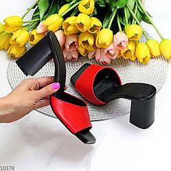 Лаконичные красные кожаные женские шлепки шлепанцы натуральная кожа на каблуке