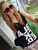 Привабливий стильний модний літній сарафан з сіткою з написом і принтом, молодіжний одяг на кожен день, фото 3