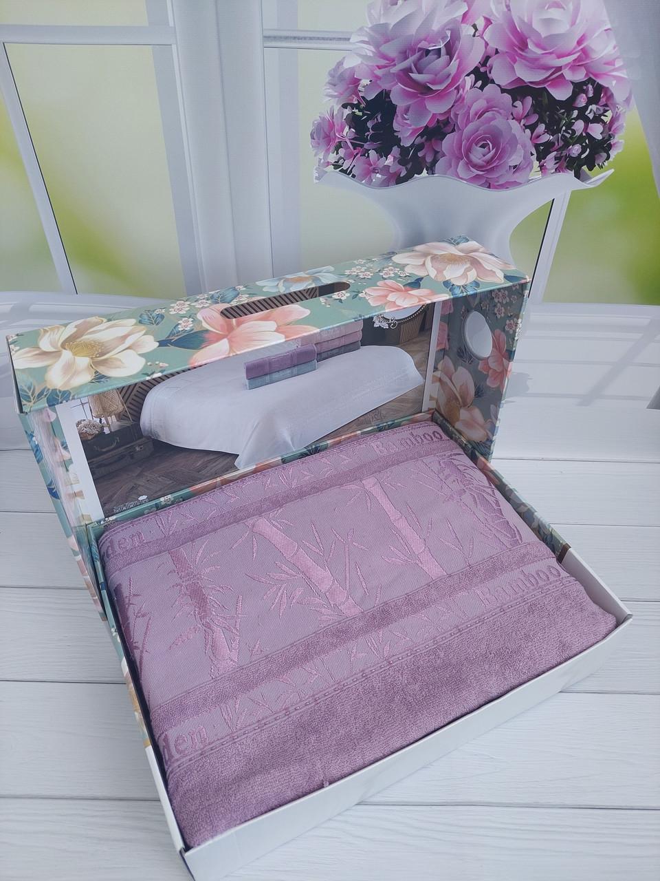 Летняя Махровая Бамбуковая Простынь Покрывало 200*220 см Евро Размер Однотонная Фиолетовая Турция Sofia Soft