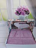 Летняя Махровая Бамбуковая Простынь Покрывало 200*220 см Евро Размер Однотонная Фиолетовая Турция Sofia Soft, фото 2